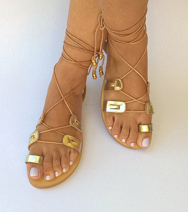 Leather Wrap Sandals From Chic Belle De Jour