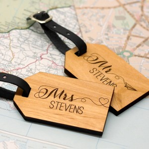Wooden, Personalized Mr + Mrs Luggage Tags by Maria Allen