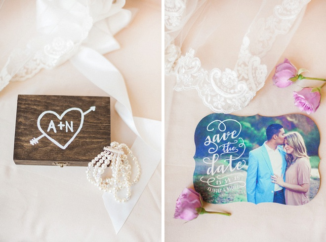 How sweet is this ring box and save the date? So cute!