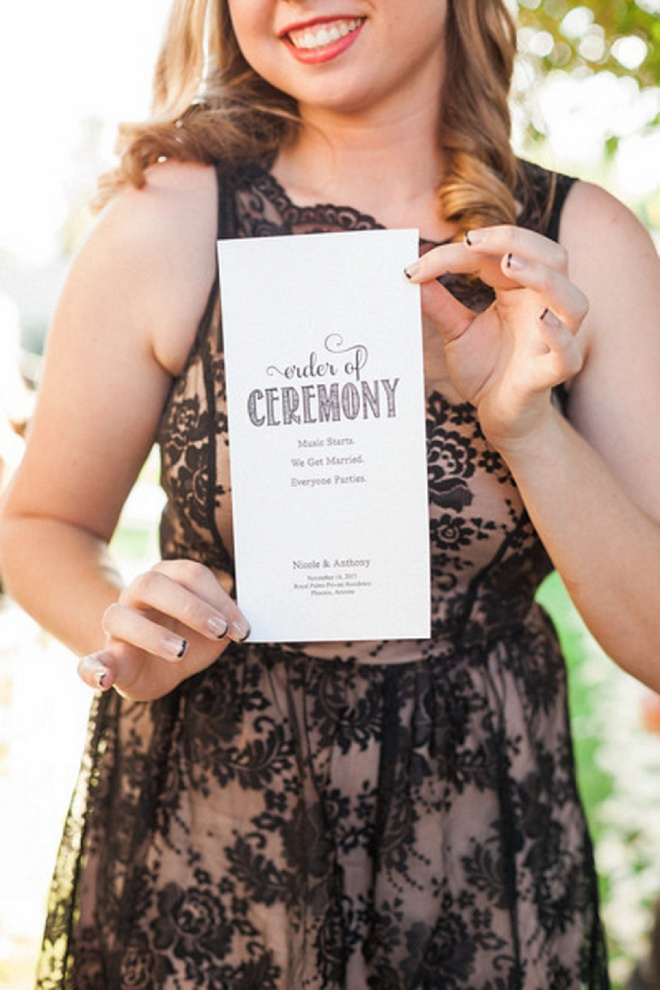Such a fun wedding ceremony program shot! Love!