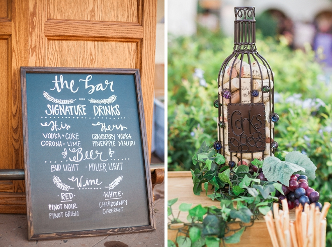 Loving these wine cork and signage details at this gorgeous DIY wedding!
