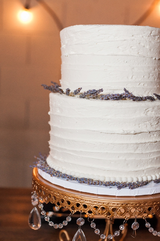 We love this two tiered cake with lavender detail!