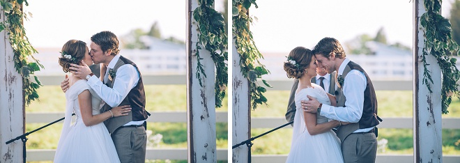 Swooning over this darling first kiss photo as Mr. and Mrs!