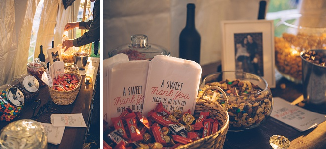 Loving this fun treat bar at this gorgeous barn wedding!