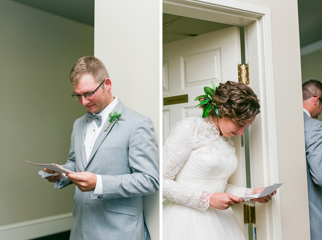 We're loving this romantic first touch before the ceremony!