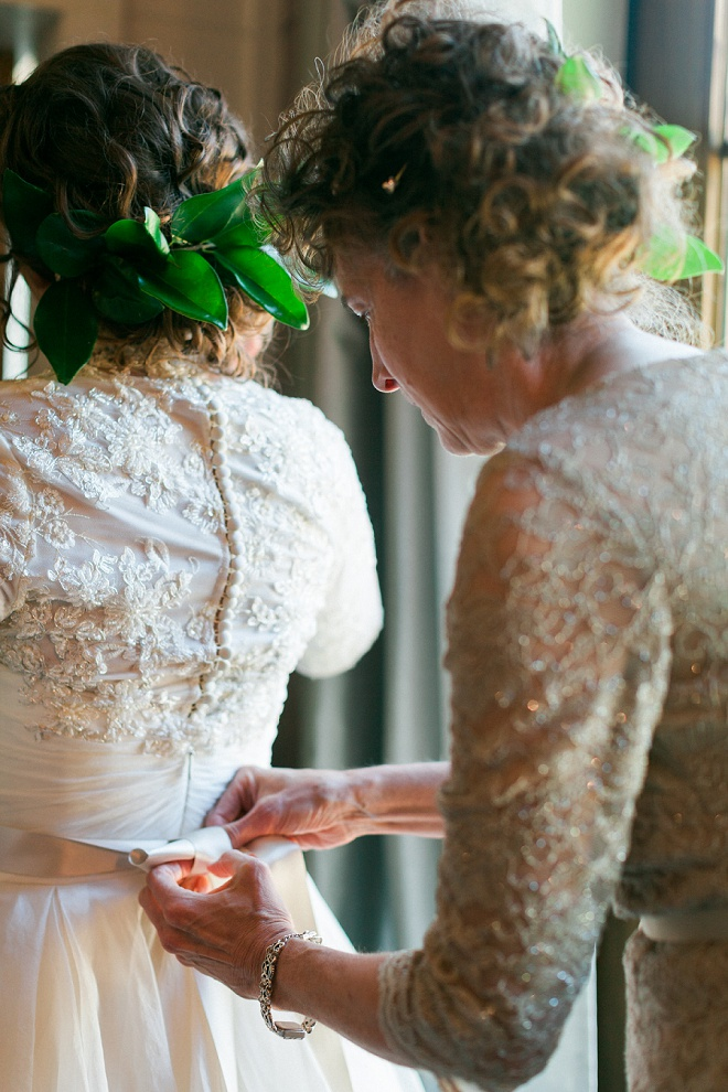 Swooning over the detail in this Bride's vintage wedding dress!