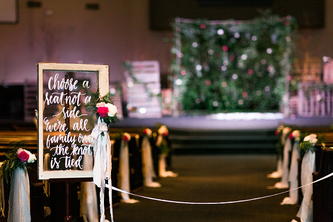 We're swooning over this hand lettered window sign at this gorgeous wedding ceremony!