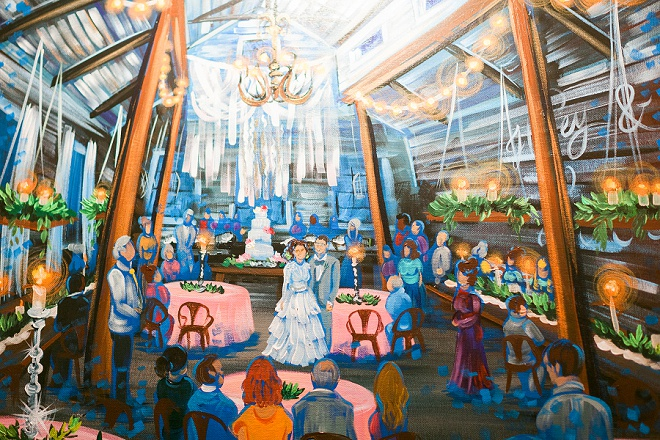 How amazing is this wedding ceremony painting done at their wedding ceremony!!
