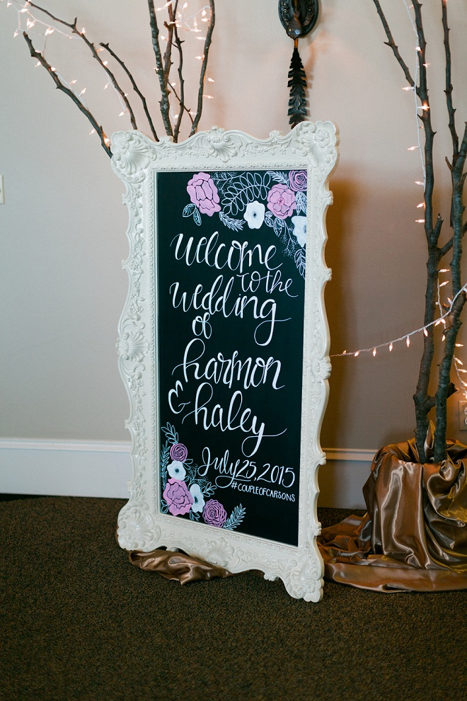 Loving all of the hand lettered signs at this gorgeous DIY wedding!