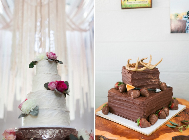 We're swooning over both of these wedding cakes! Such great detail on both!