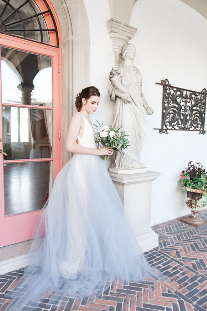 Alyssa Kristin Colored tulle skirt, awesome idea for a convertible wedding dress