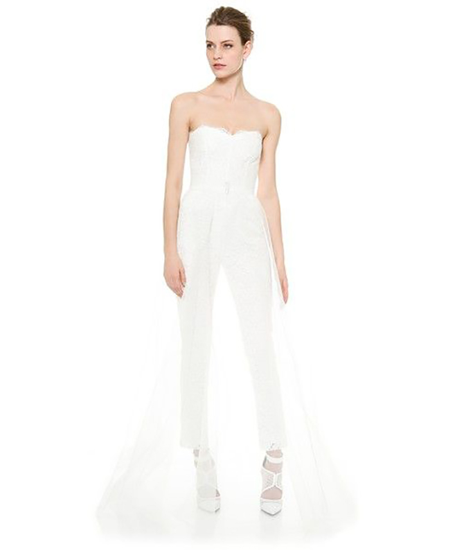 Monique Lhuiller Paige jumpsuit is taken to a new level with the matching sheer overskirt!