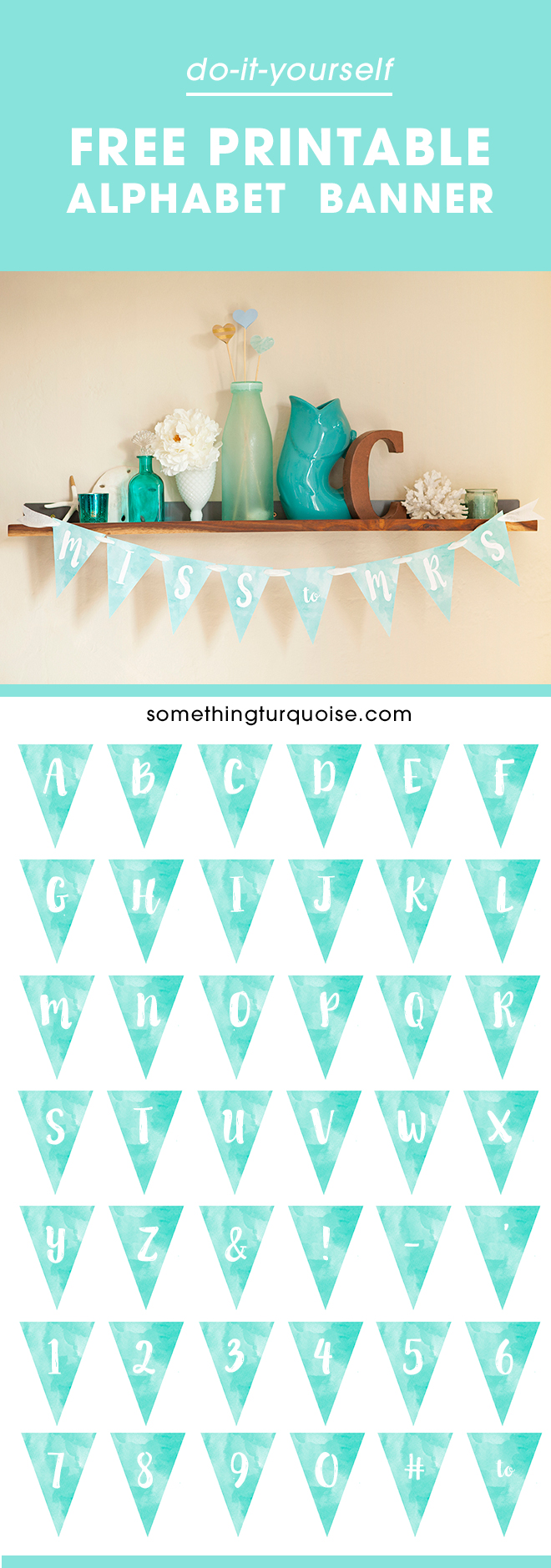 free printable watercolor alphabet banner  adorable