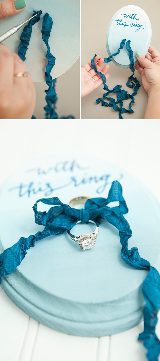 Darling and easy DIY idea for custom painted ring bearer plaques!