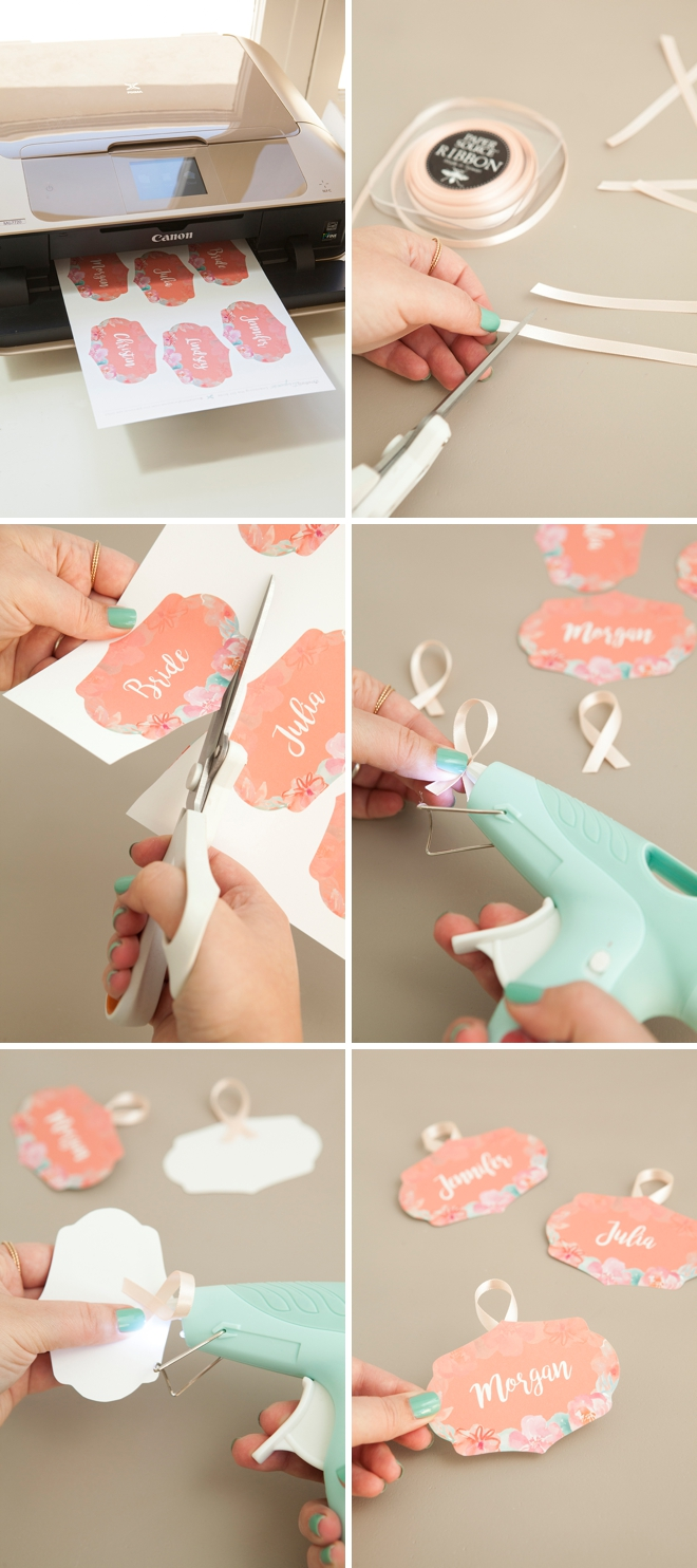 FREE printable and editable bridal party hanger tags in a coral floral theme!