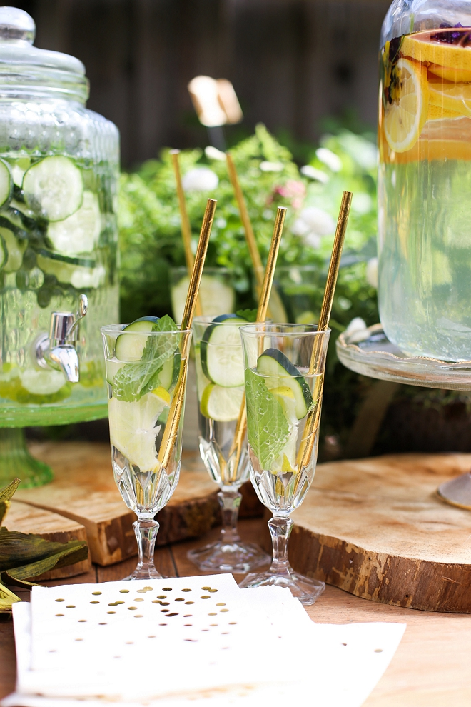 We love these fun cucumber cocktails at DIY garden bridal shower!