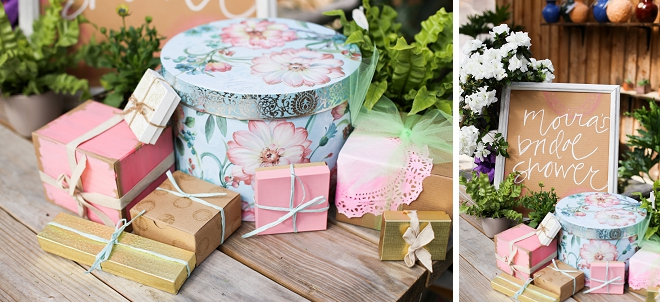 Loving this gorgeous gift setup at this garden bridal shower!