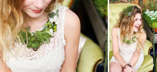 We love this darling shot at this garden bridal shower and her floral jewelry!