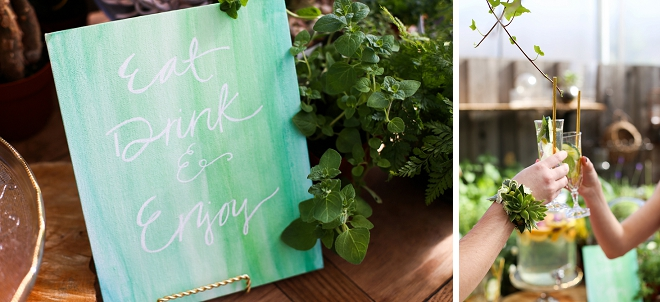 Love this green water color hand lettered sign at this gorgeous bridal shower!