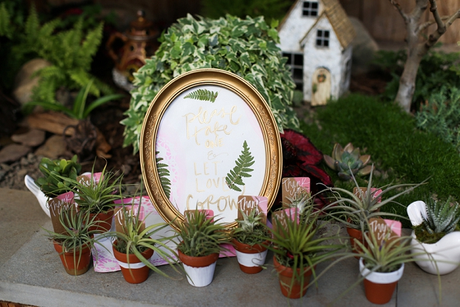Fun thank you favors at this garden bridal shower!