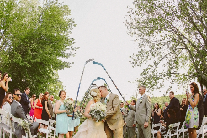 How fun is this first kiss picture with hockey stick walk through? So fun!