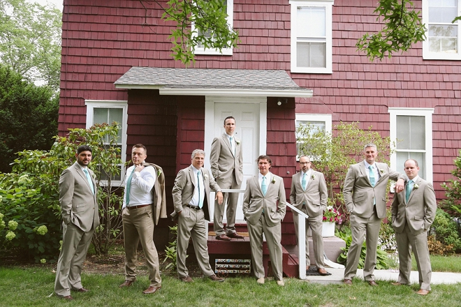 How fun is this shot of the Groom and his Groomsmen at this gorgeous rustic outdoor wedding? Love!