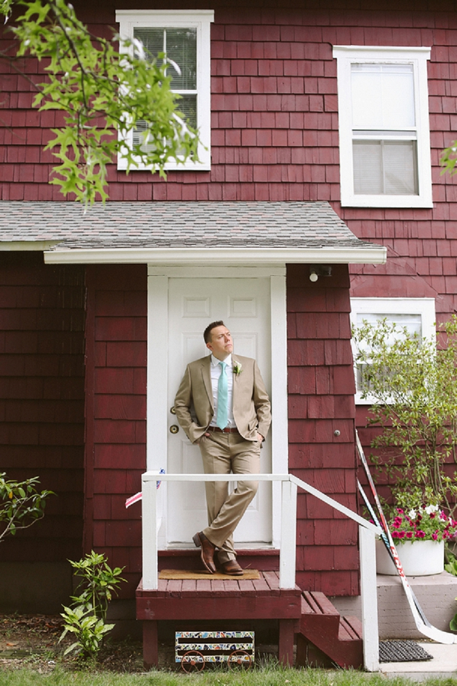 How fun is this shot of the Groom at this gorgeous rustic outdoor wedding? Love!