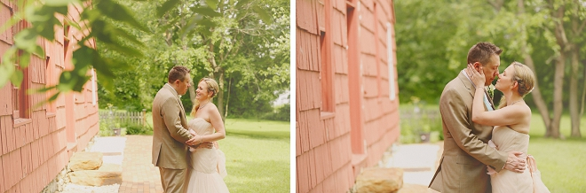 Swooning over this darling first look at this rustic DIY wedding!