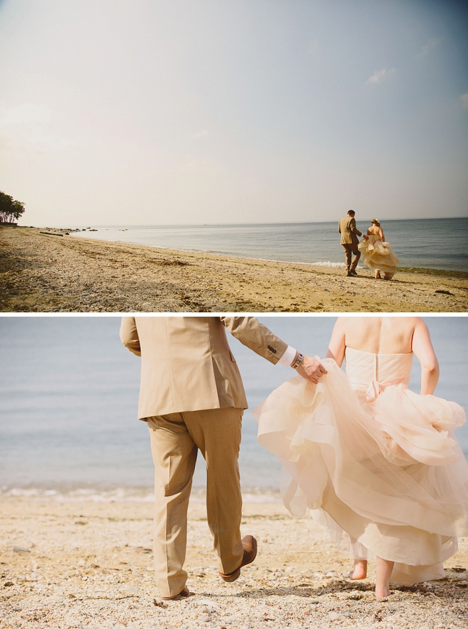We're loving these sweet shots of the new Mr. and Mrs. sneaking some alone time on the beach after their ceremony!