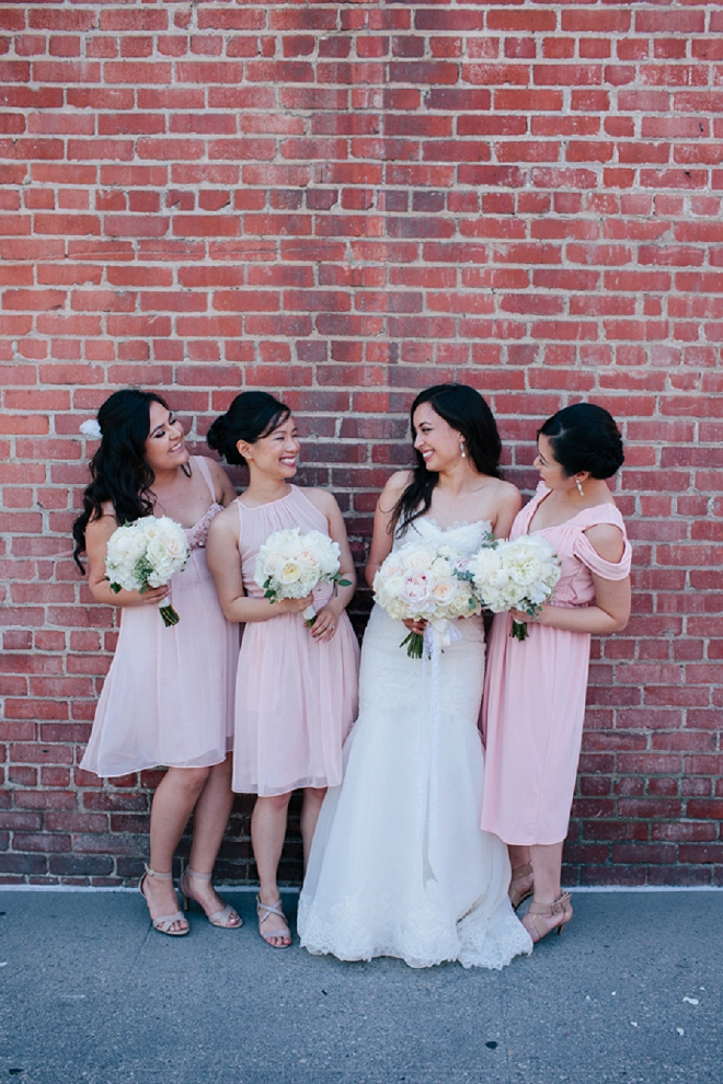 Loving this fun Bride and her gorgeous blush Bridesmaids!