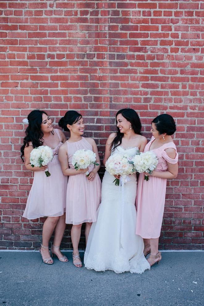 Loving this fun Bride and her gorgeous blush Bridesmaids!