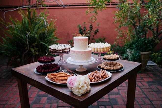 Loving this gorgeous dessert table at this garden DIY wedding reception!