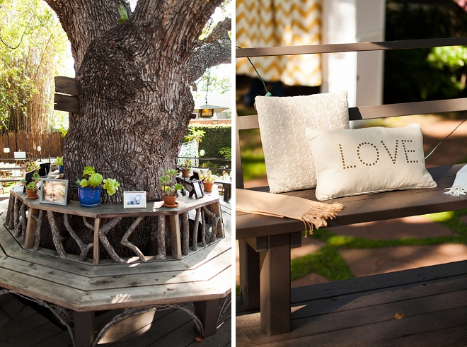 Loving the comfy and darling details of this garden reception!