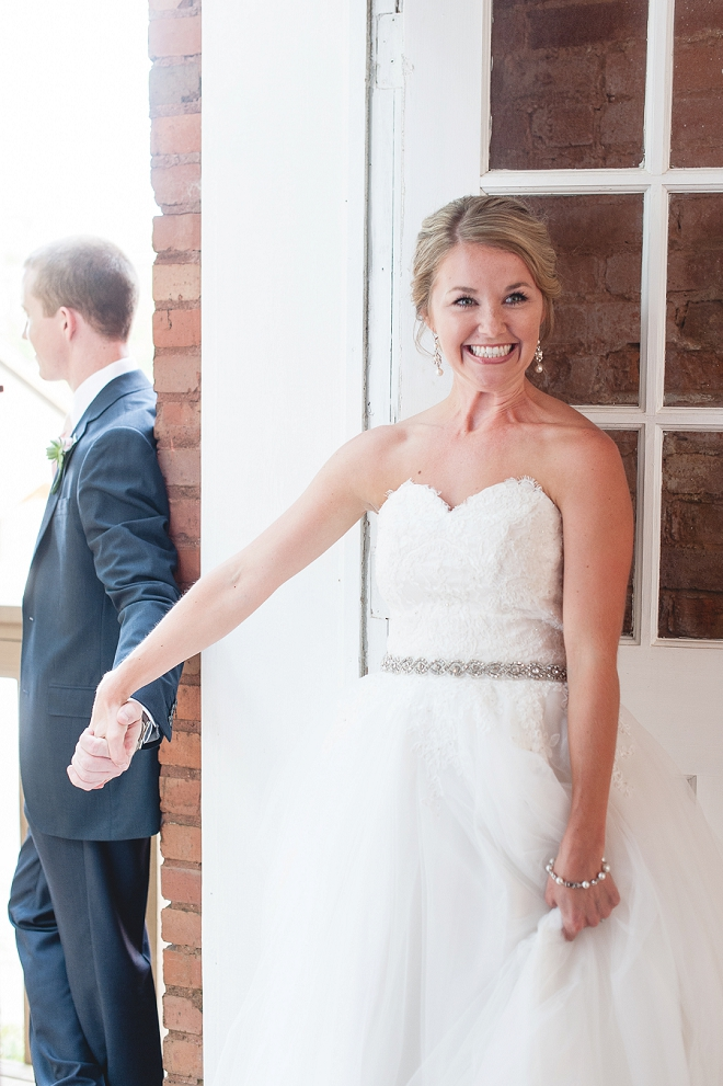 Swooning over this sweet first touch before the ceremony!