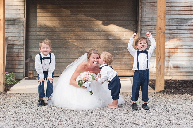 How darling is this Bride and her ring bearers?! So darling!