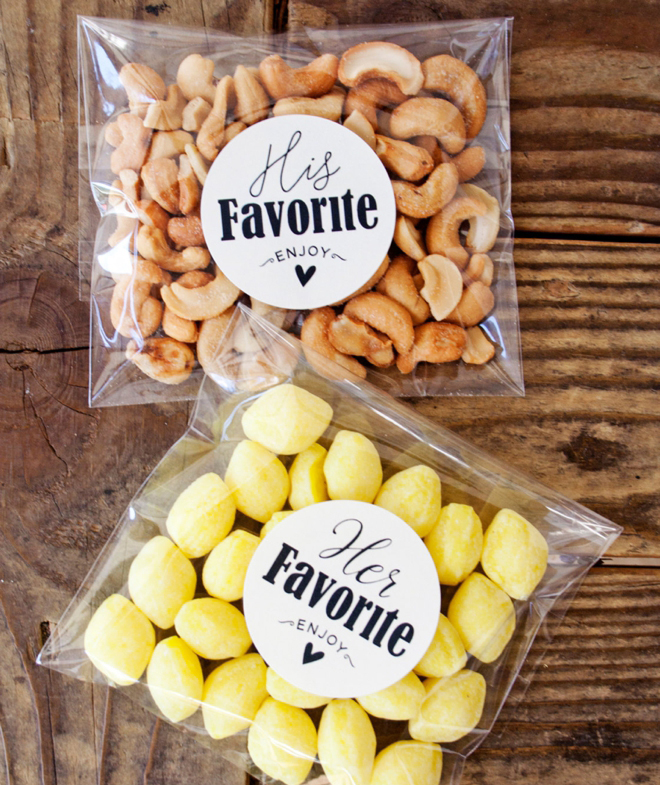 His Her Favorite Favor Bag Stickers By Mavora