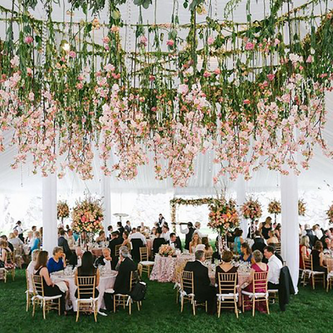 Hanging flowers are a fabulous way to dress up a tent