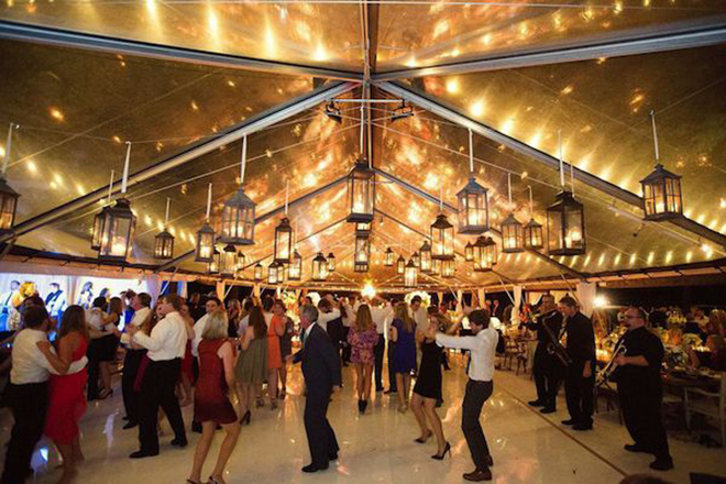 hanging lanterns decorate a fabulous dance floor