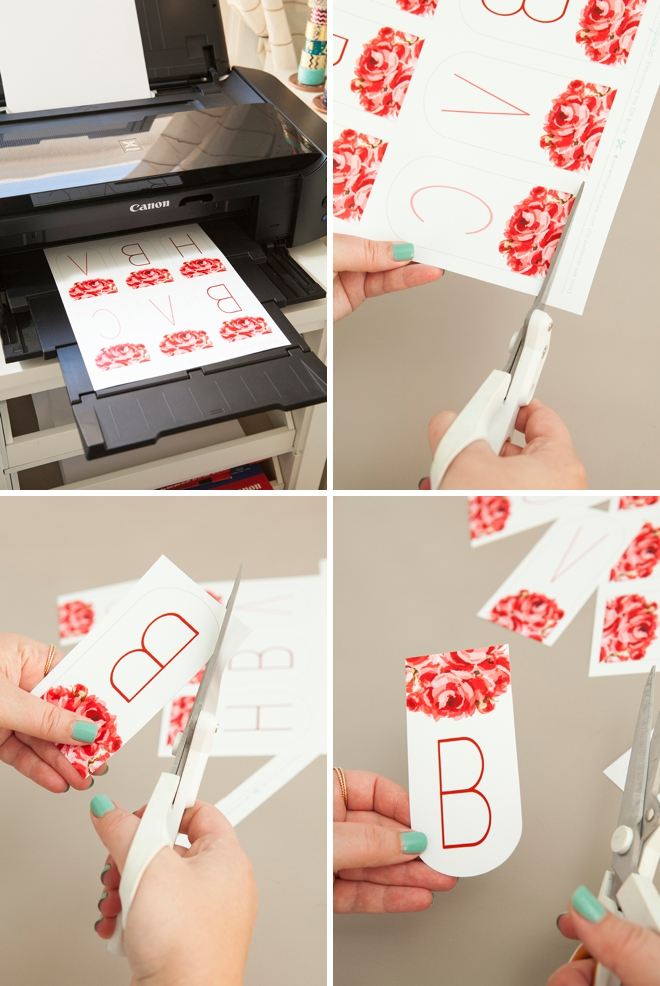 Adorable FREE printable floral alphabet banner, you can make it say anything you want!
