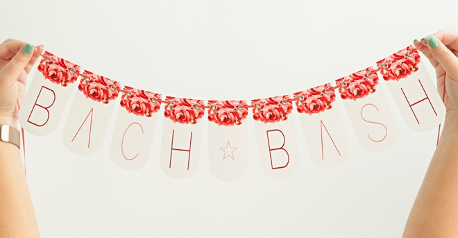 Adorable FREE printable bachelorette party banner - bach bash!