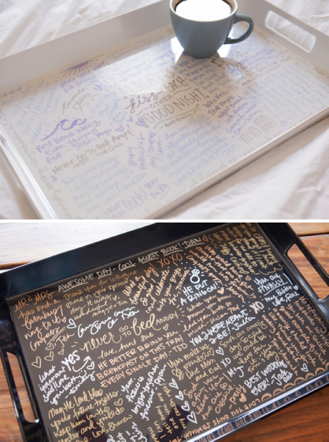 Learn how to cover your wedding guests signatures in resin!