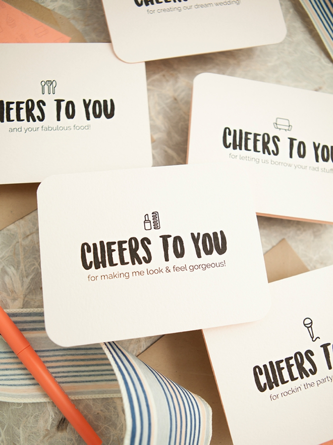 make these darling wedding vendor thank you cards