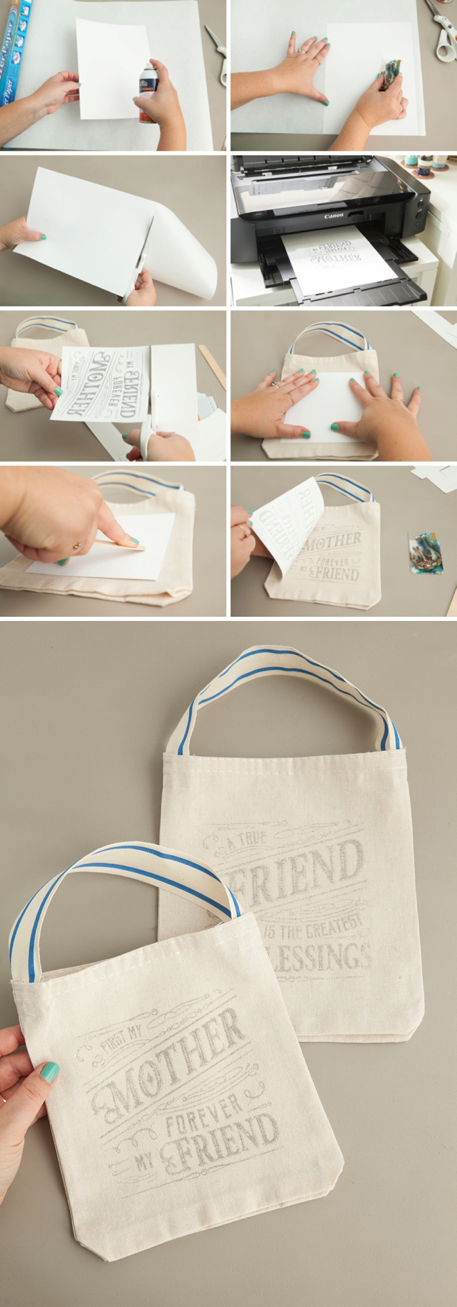 Awesome Freezer Paper Transfer - Bridal Party Tote Bags!