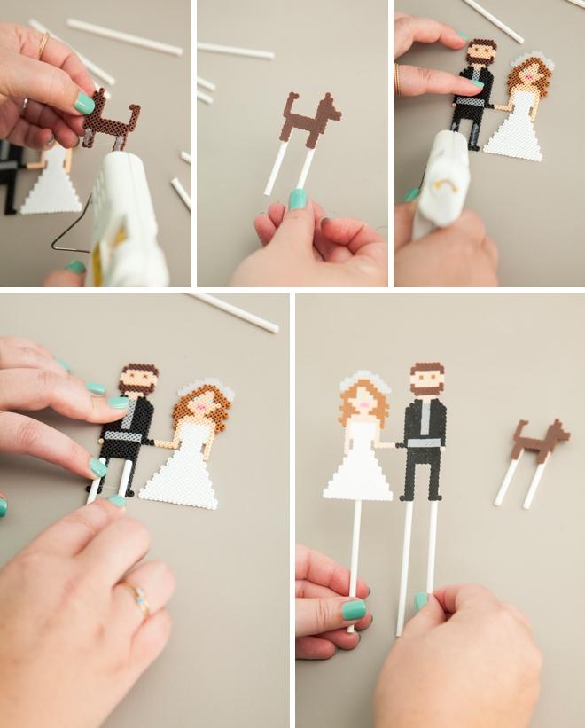 Make your own custom mini perler bead wedding cake topper people! SO cute!