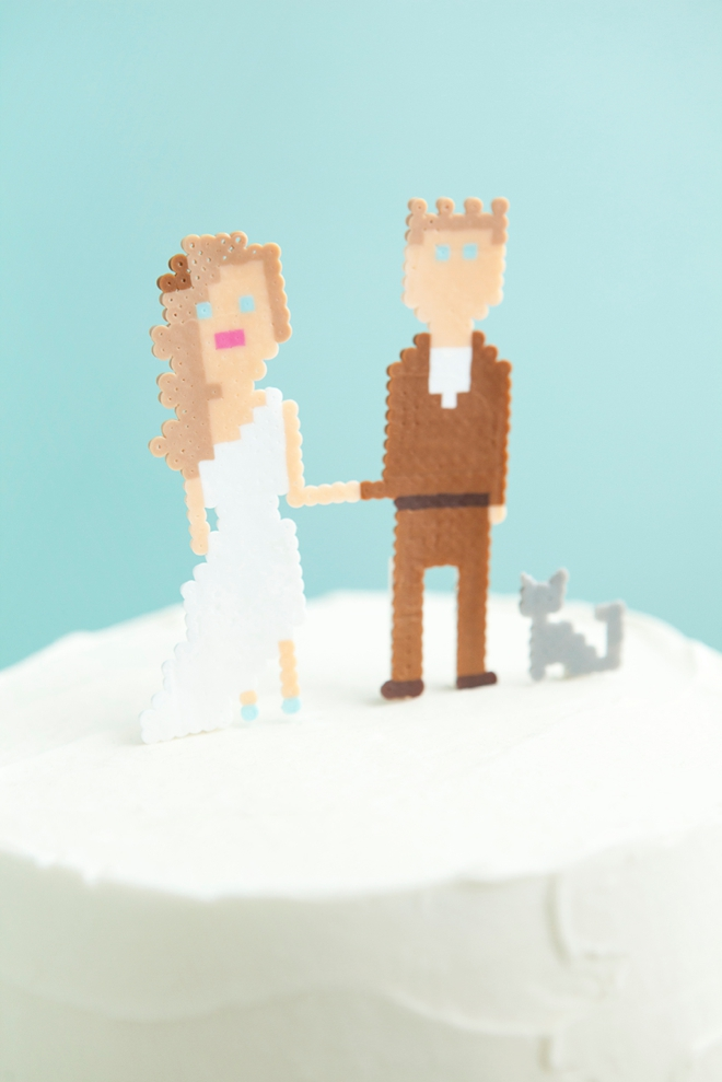 Make your own custom mini perler bead wedding cake topper people! SO cute!