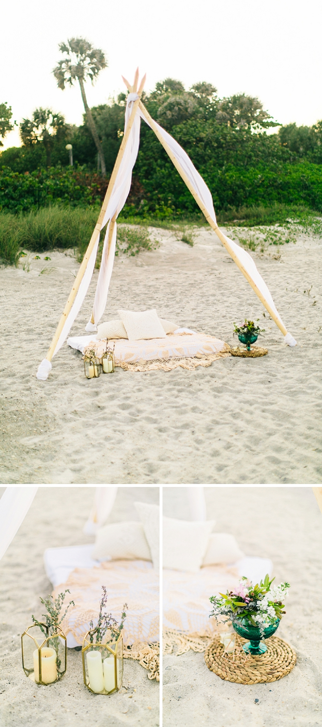 How amazing is this boho chic tee pee and decor for this beach anniversary? We're in love!