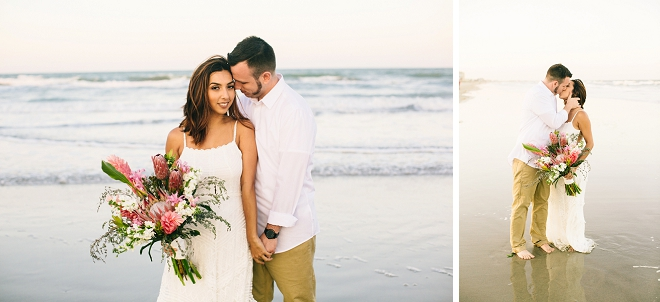 Swooning over this beachy boho anniversary and that gorgeous bouquet!