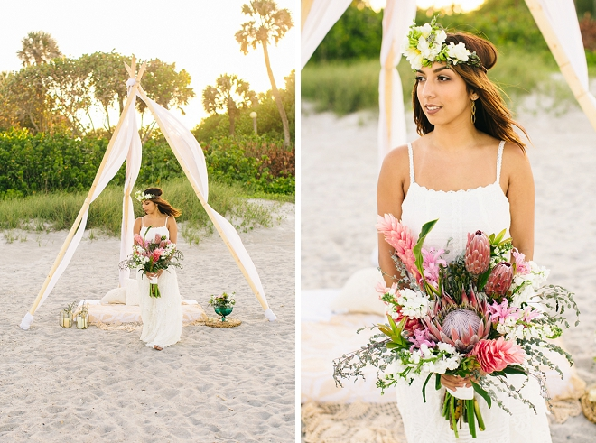 We're swooning over this gorgeous boho anniversary shoot with gorgeous flower crown and bouquet!