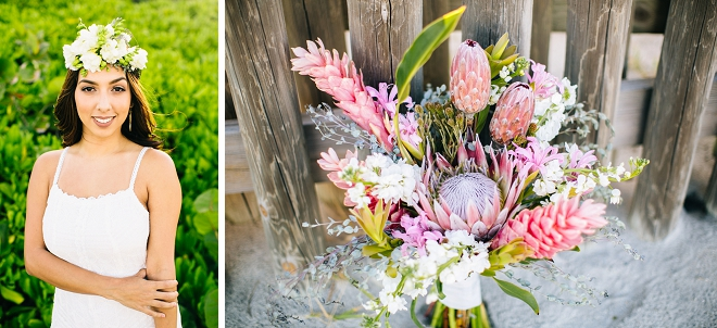 We're loving this pink boho bouquet at this beautiful anniversary shoot!