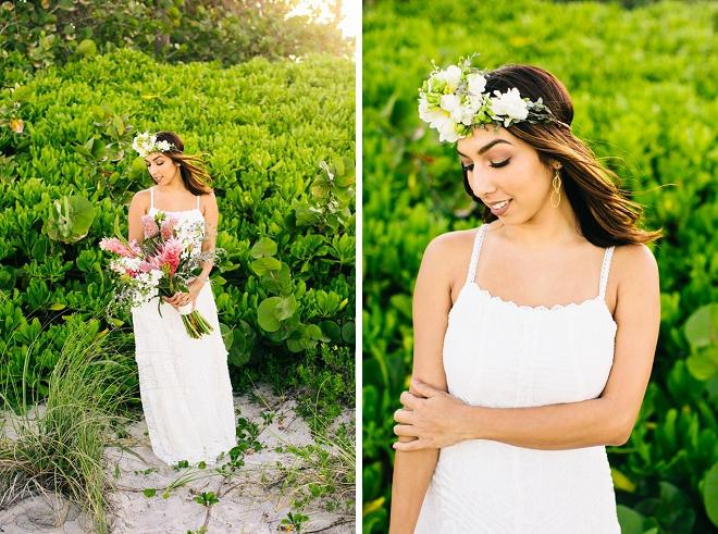 We're loving this gorgeous flower crown and boho beach anniversary shoot!